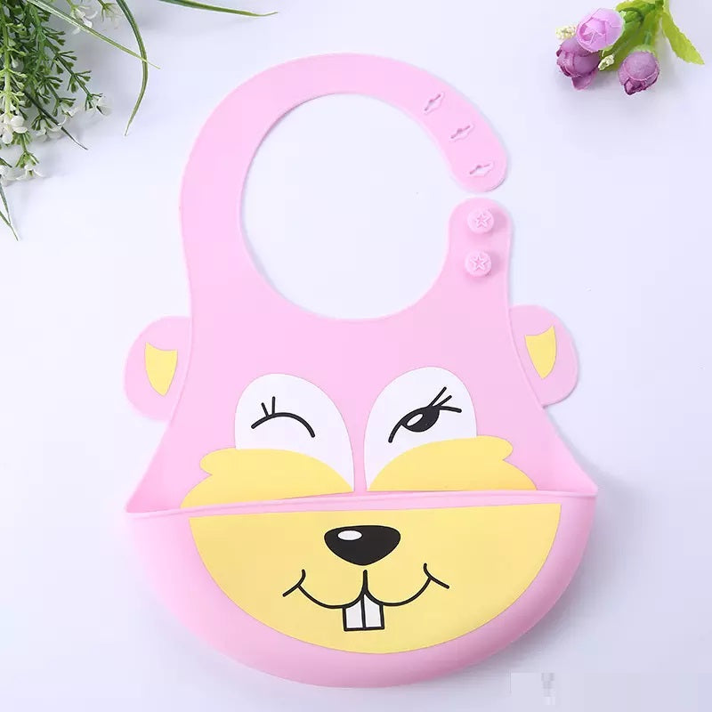 Silicone Baby Bib with Cute Characters-Pink Beaver-Daily Steals