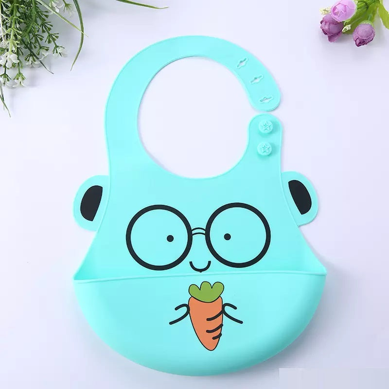 Silicone Baby Bib with Cute Characters-Green Carrot-Daily Steals