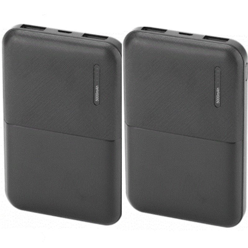 5000 mAh Power Bank Black - 2 Pack