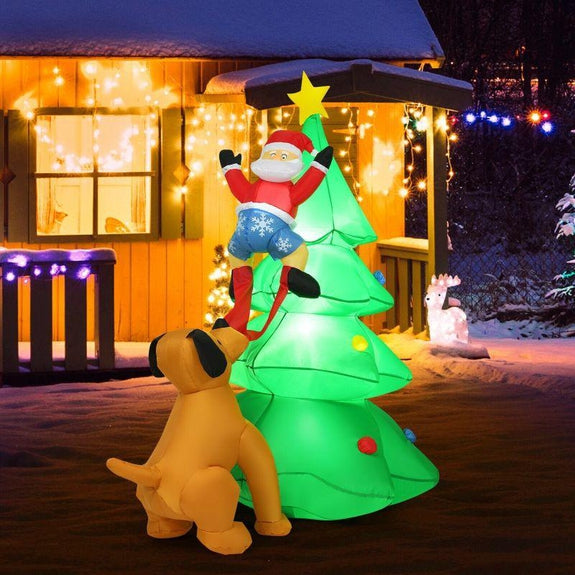 Inflatable 6.5' Dog Fetching Santa with LED Lights-