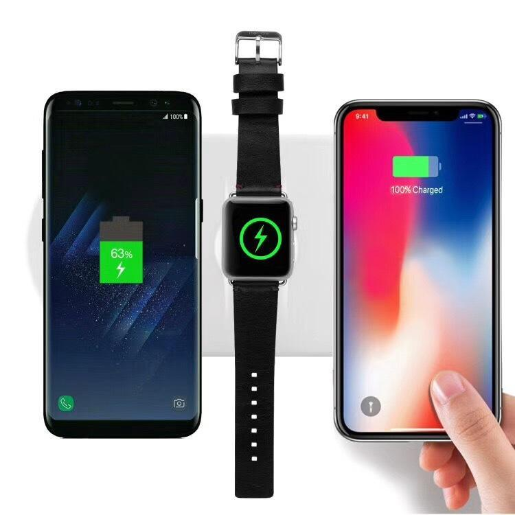 Daily Steals-iPM 3-in-1 Wireless Charging Pad with Fast Qi Charger for iPhone, Samsung, Apple Watch-Cell and Tablet Accessories-