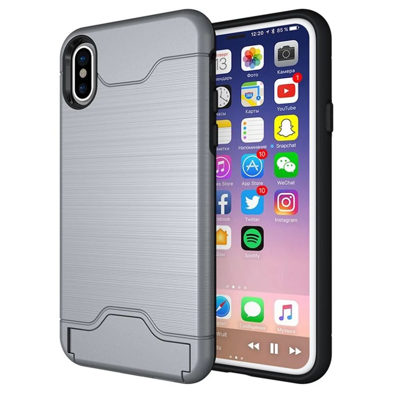iPM Apple iPhone 11, Pro, Pro Max Case With Hidden Credit Card Slot-Gray-iPhone 11-Daily Steals