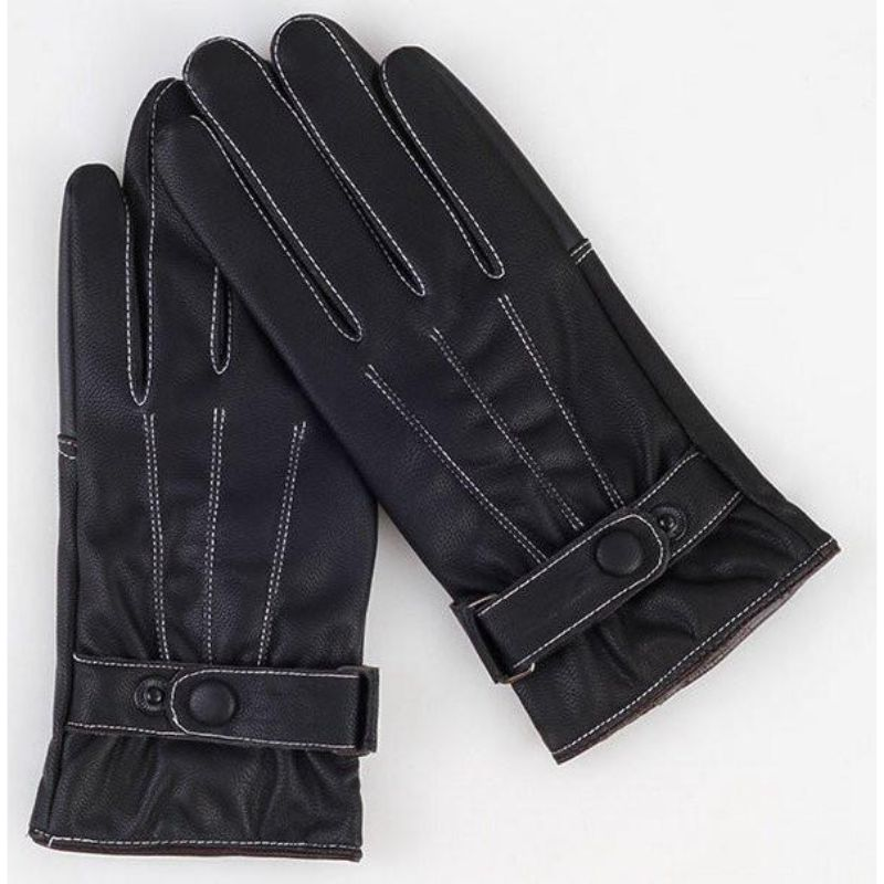 iPM Winter Magic Touchscreen Gloves-iPM Men's Faux Leather/Fleece Touchscreen Gloves with White Stitching-Daily Steals