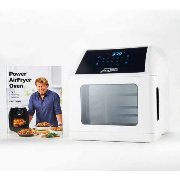 Power Air Fryer 10-in-1 Pro Elite Oven 6-qt with Cookbook-White-Daily Steals