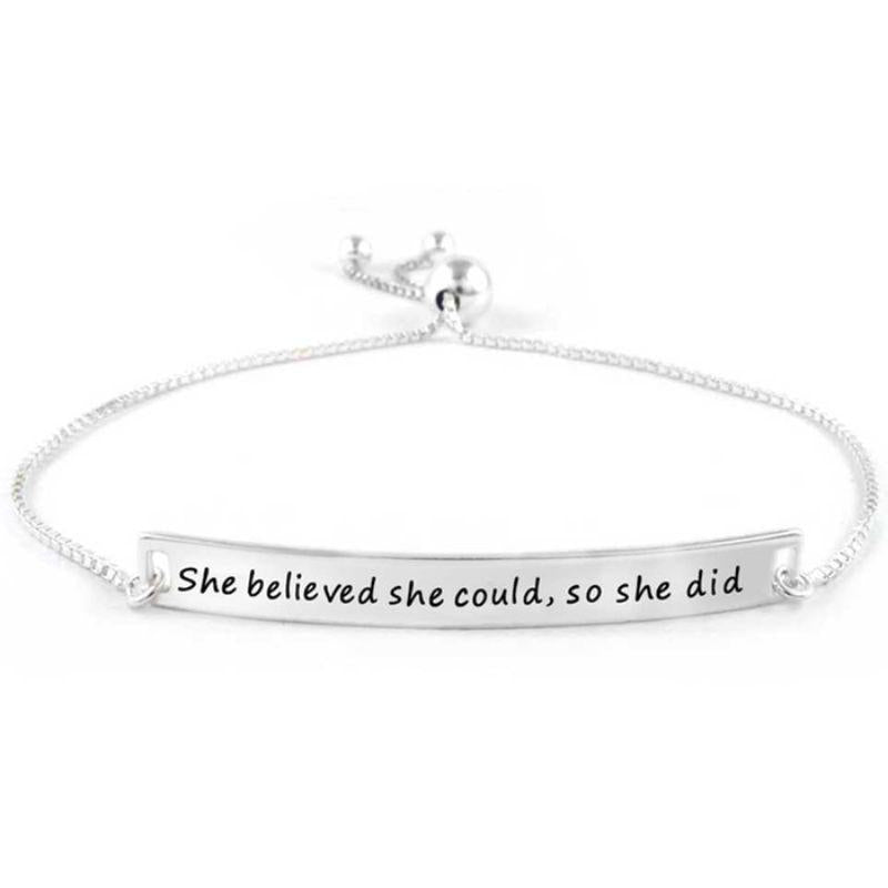 "Italian Silver ""She Believed She Could, So She Did"" Bracelet by Verona-Daily Steals"
