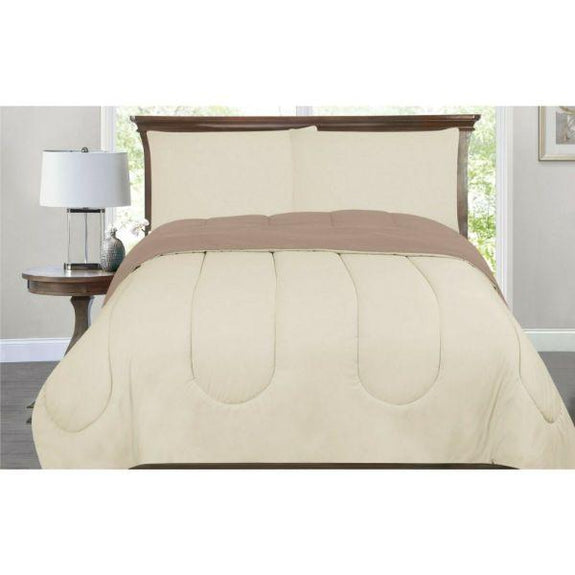 All-Season Down Alternative Reversible 2-Tone Comforter - 4 Colors-Ivory/Taupe-Twin/Twin XL-Daily Steals