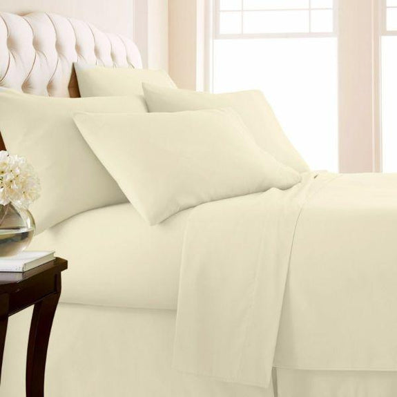 Top Bedding Sheet Set-Fitted//Flat//Bed Skirt 1000 TC Egyptian Cotton Ivory Solid