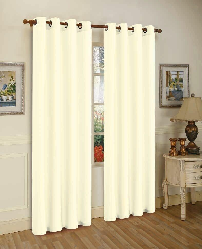 Mira Faux Silk Curtains with Bronze Grommets - 3 Panels-Ivory-Daily Steals
