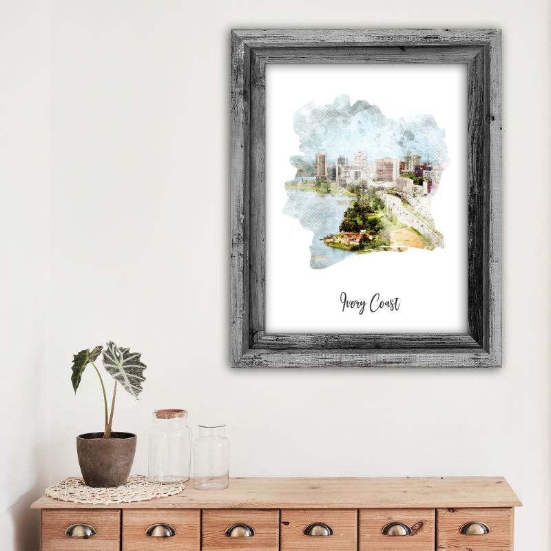 "Ivory Watercolor Map Print - Unframed Art Print-13""x19""-Vertical/Portrait-Daily Steals"