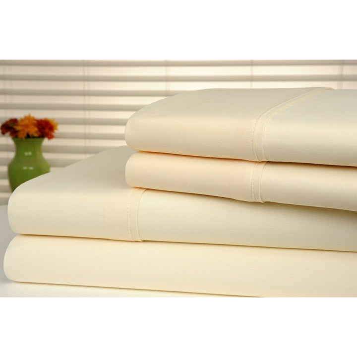 Bamboo Luxury 1800 Count Solid Sheet Set - 4 Pieces-Ivory-Full-Daily Steals