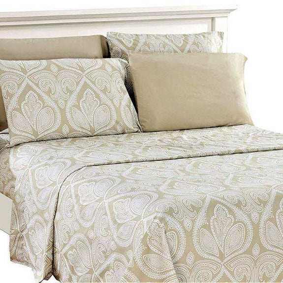 Paisley Printed Deep Pocket Bed Sheet Set - 6 Piece-IVORY-Full-Daily Steals