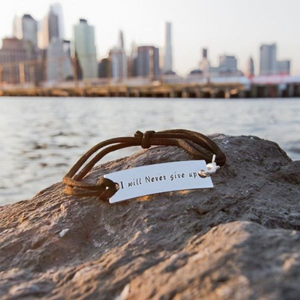 "Inspirational Leather Bracelet ""I Will Never Give Up""-Daily Steals"