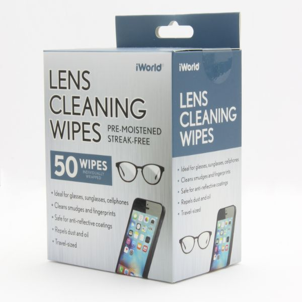 iWorld 50-Pack Lens Cleaning Wipes for Glasses, Sunglasses or Cell Phones-1-Pack-Daily Steals