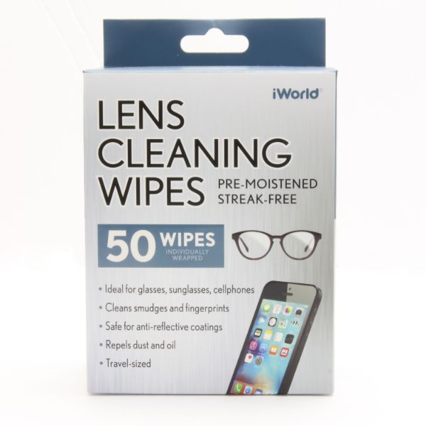 iWorld 50-Pack Lens Cleaning Wipes for Glasses, Sunglasses or Cell Phones-Daily Steals