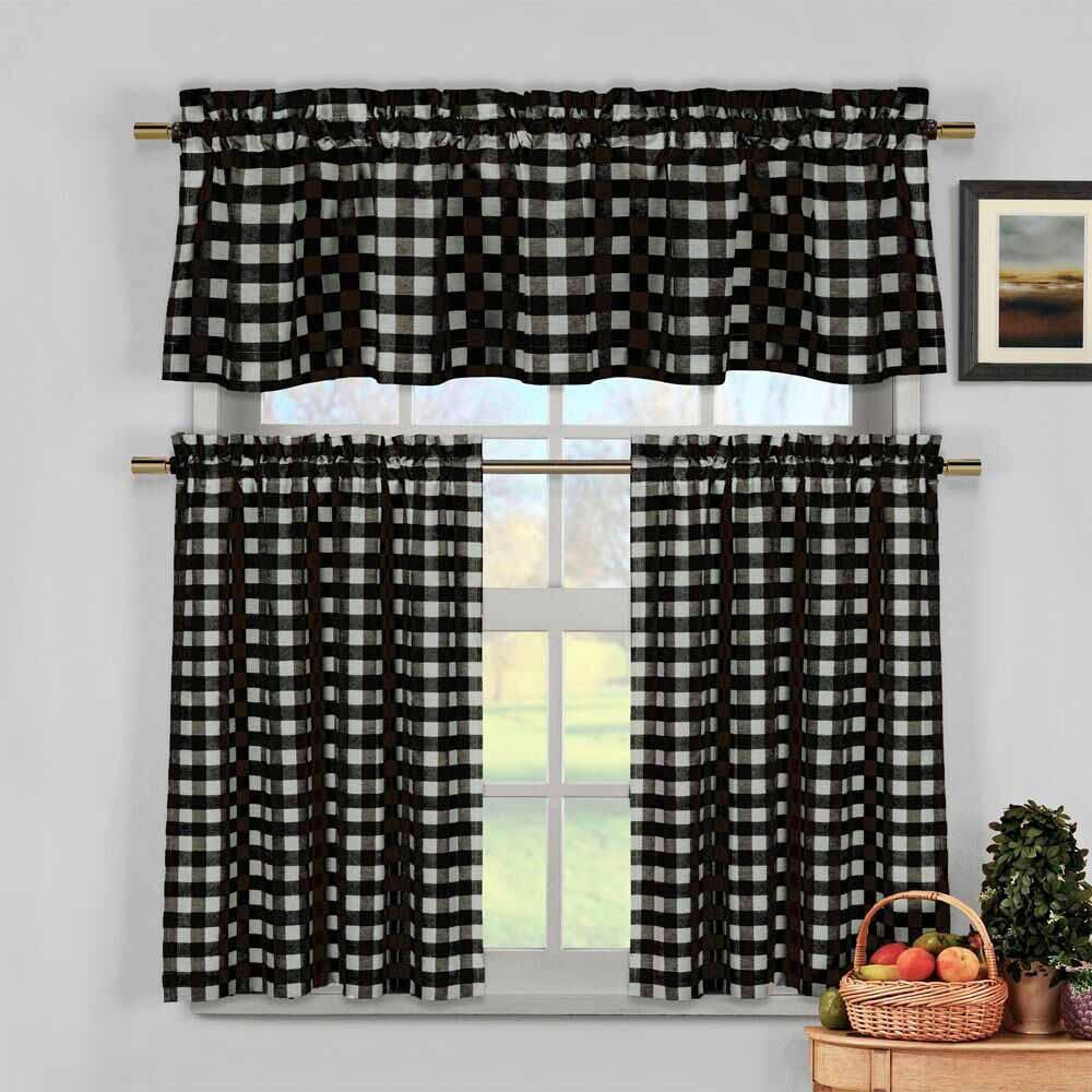 3 Piece Plaid, Checkered, Gingham Kitchen Curtain Set with 1 Valance and 2 Tier Panels