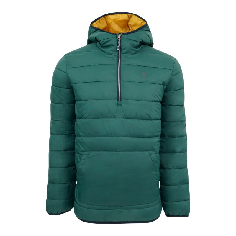 IZOD Men's Quilted 1/4 Zip Pullover Puffer Jacket-Hunter Green-M-Daily Steals