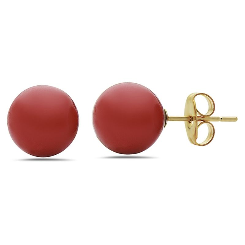 10K Gold Created Red Onyx Studs-Daily Steals