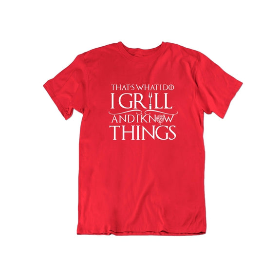 That's What I Do I Grill and I Know Things T Shirt-Red-Small-Daily Steals