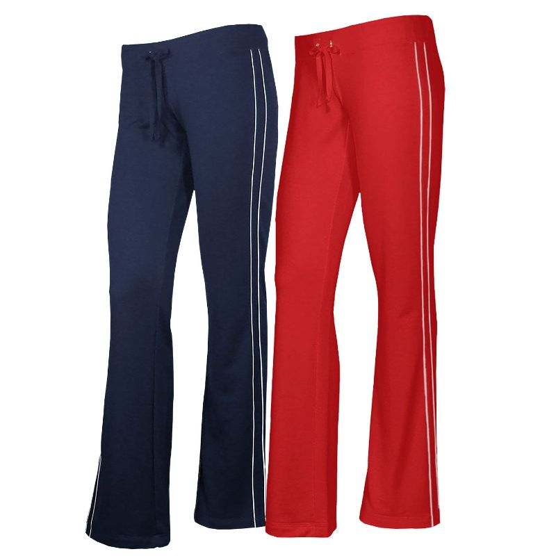 Women's French Terry Comfy Sweatpants - 1 or 2 Pack-Navy + Red-2 Pack-S-Daily Steals