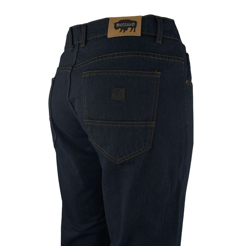 Buffalo Outdoors Mens Straight Leg Comfort Jeans Basic Work Denim Pants-Dark Wash-38x30-Daily Steals