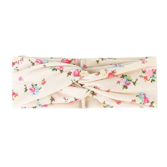 Jersey Knit Print Headwraps-Cream Floral-