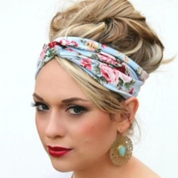 Jersey Knit Print Headwraps-Gray and Pink-