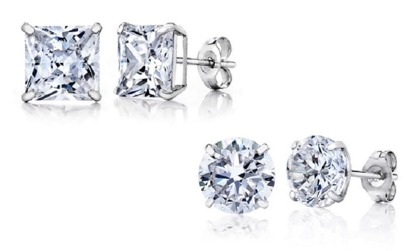 [2-Piece] White Gold Plated Round and Princess Studs Set-Daily Steals