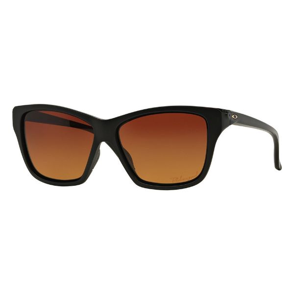 Oakley OO9298-01 Women's Hold On Matte Black Full Rim Gradient Brown Polarized Square Sunglasses-Daily Steals