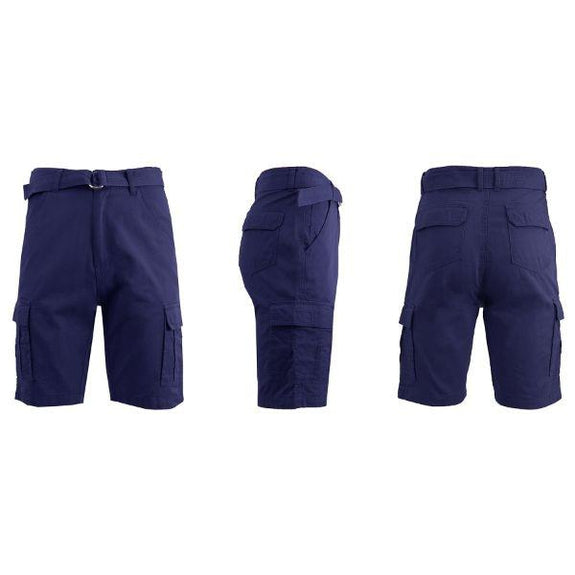 Men's Cotton Cargo Shorts with Tonal D-Ring Belt-Navy-30-Daily Steals