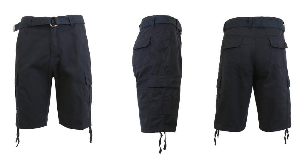 Men's Belted Cotton Cargo Shorts-Black-30-Daily Steals