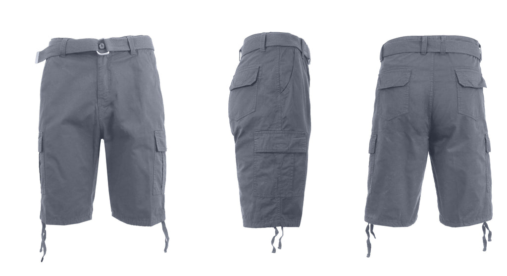 Men's Belted Cotton Cargo Shorts-Grey-30-Daily Steals
