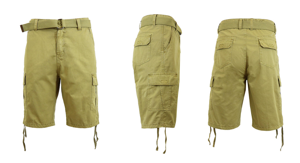 Men's Belted Cotton Cargo Shorts-Khaki-30-Daily Steals
