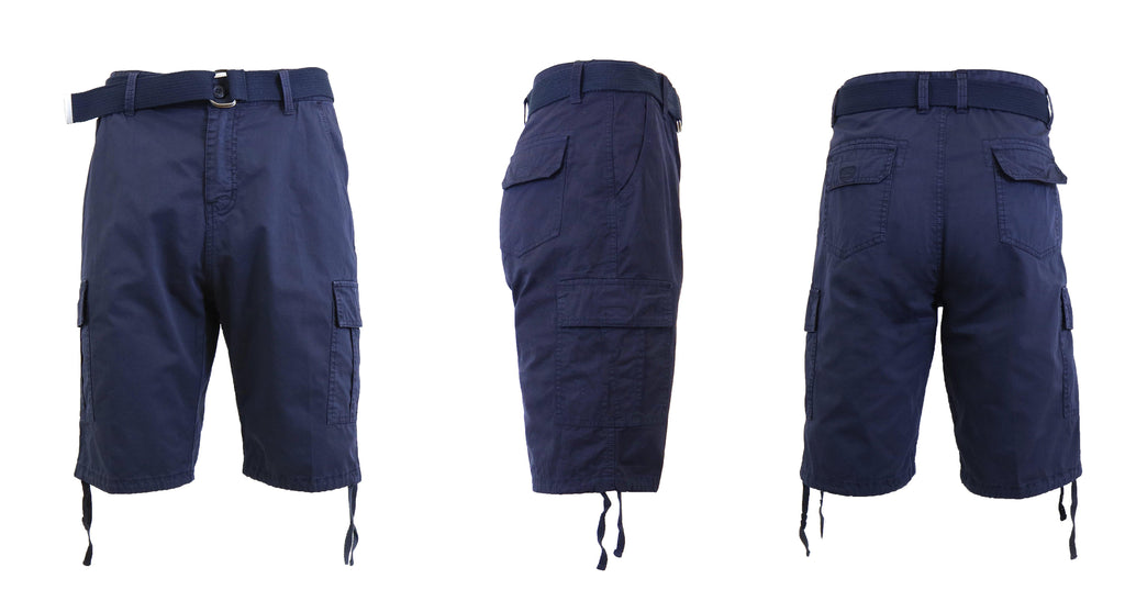 Men's Belted Cotton Cargo Shorts-Navy-30-Daily Steals