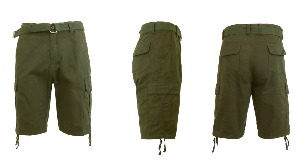 Men's Belted Cotton Cargo Shorts-Olive-30-Daily Steals
