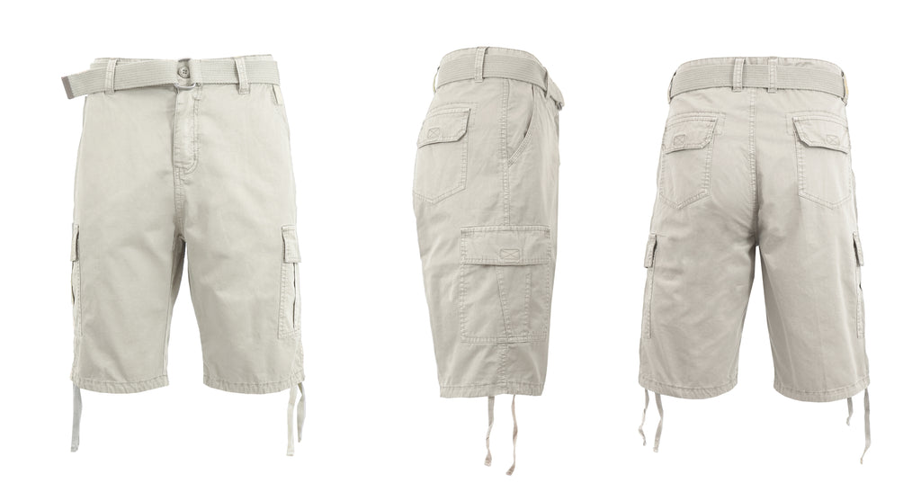 Men's Belted Cotton Cargo Shorts