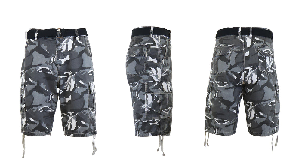 Men's Belted Cotton Cargo Shorts-Urban Camo-30-Daily Steals