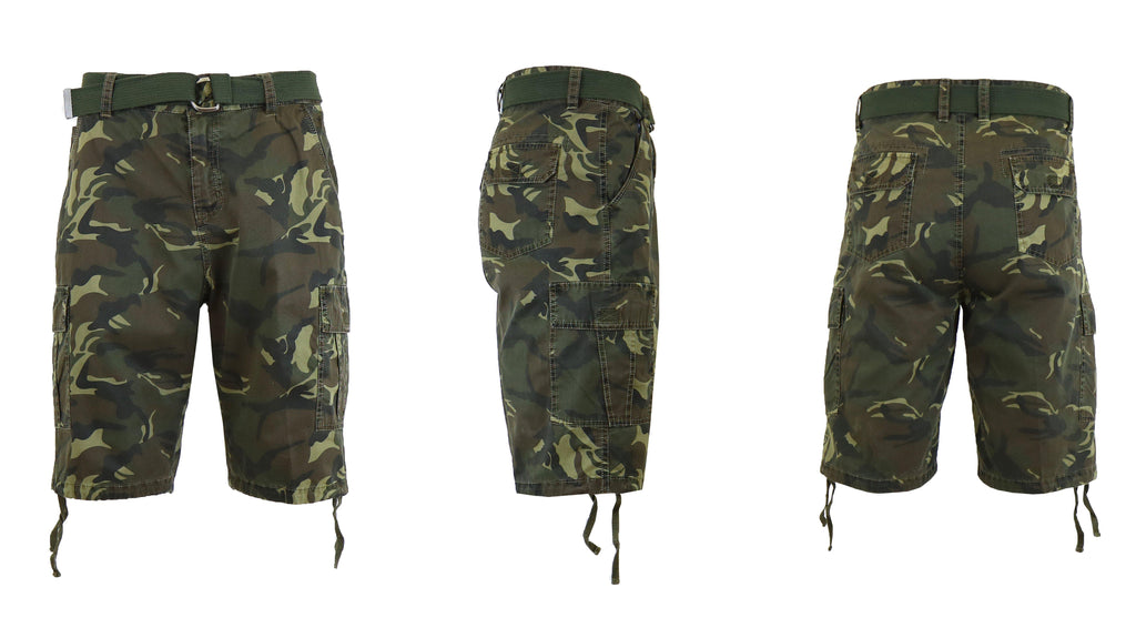 Men's Belted Cotton Cargo Shorts-Woodland Camo-30-Daily Steals