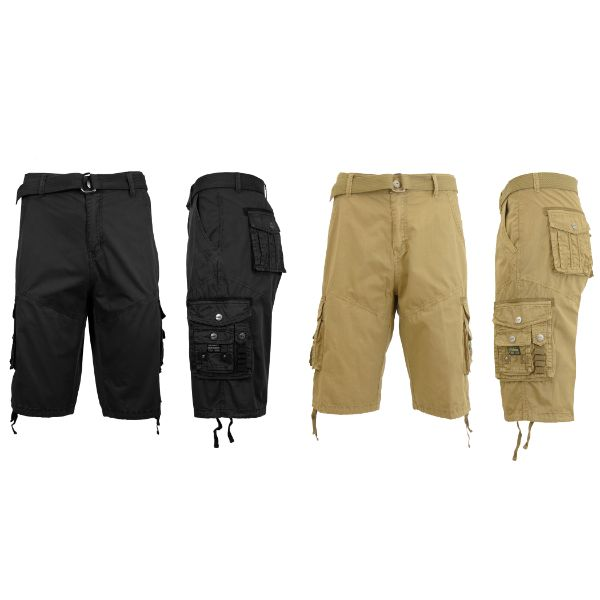 Men's Distressed Vintage Belted Cargo Utility Shorts - 2 Pack-Black & Khaki-30-Daily Steals