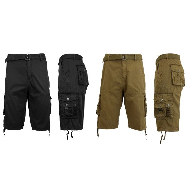 Men's Distressed Vintage Belted Cargo Utility Shorts - 2 Pack-Black & Timber-30-Daily Steals