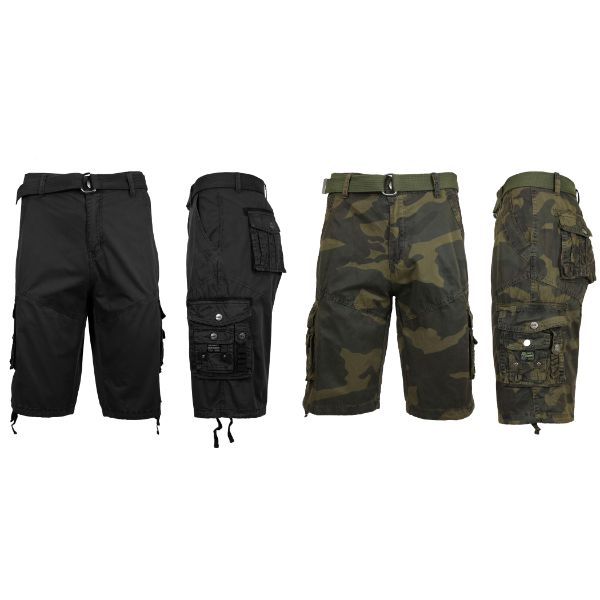 Men's Distressed Vintage Belted Cargo Utility Shorts - 2 Pack-Black & Woodland Camo-30-Daily Steals