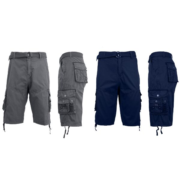 Men's Distressed Vintage Belted Cargo Utility Shorts - 2 Pack-Grey & Navy-30-Daily Steals