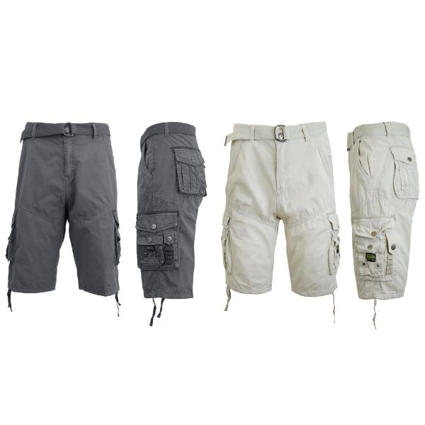 Men's Distressed Vintage Belted Cargo Utility Shorts - 2 Pack-Grey & Stone-30-Daily Steals