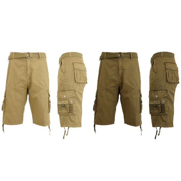 Men's Distressed Vintage Belted Cargo Utility Shorts - 2 Pack-Khaki & Timber-30-Daily Steals