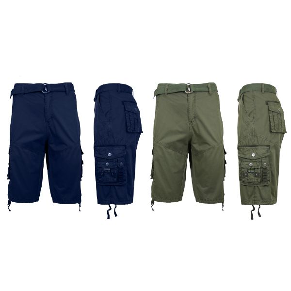 Men's Distressed Vintage Belted Cargo Utility Shorts - 2 Pack-Navy & Olive-30-Daily Steals