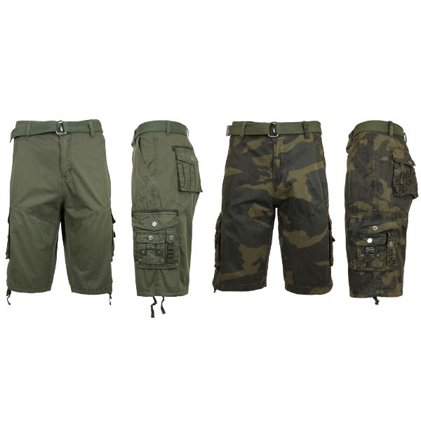 Men's Distressed Vintage Belted Cargo Utility Shorts - 2 Pack-Olive & Woodland Camo-30-Daily Steals