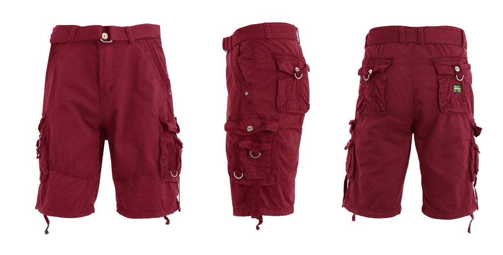 Men's Belted Multi-Pocket Cargo Utility Shorts-Burgundy-30-Daily Steals