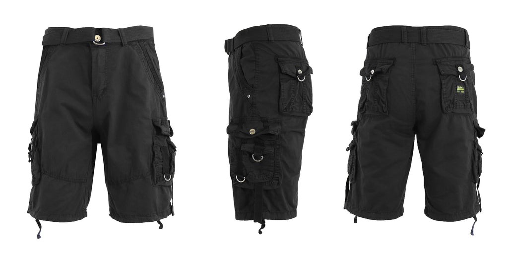 Men's Belted Multi-Pocket Cargo Utility Shorts-Black-30-Daily Steals