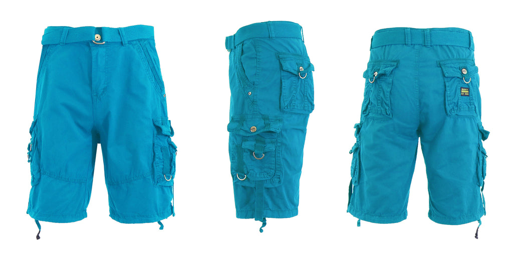 Men's Belted Multi-Pocket Cargo Utility Shorts-Blue-30-Daily Steals