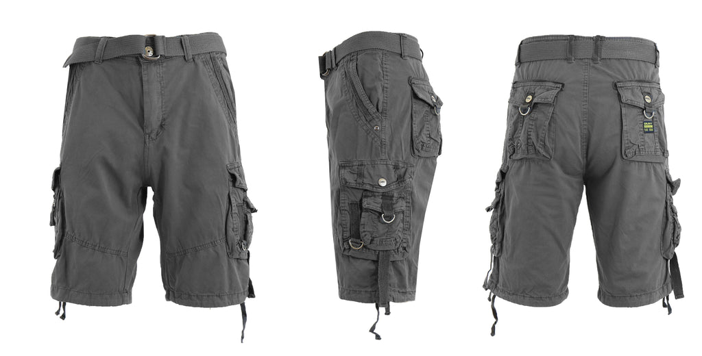 Men's Belted Multi-Pocket Cargo Utility Shorts-Grey-30-Daily Steals