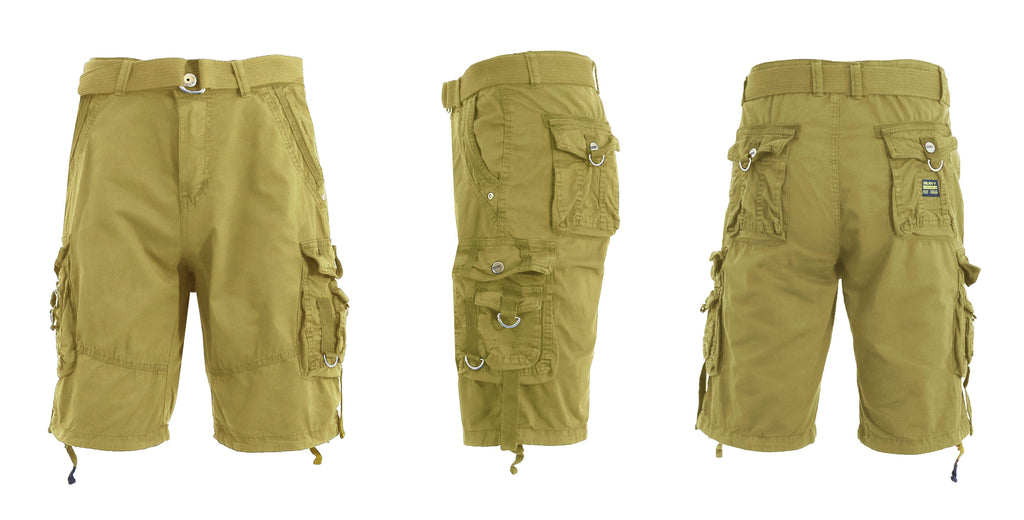 Men's Belted Multi-Pocket Cargo Utility Shorts-Khaki-30-Daily Steals